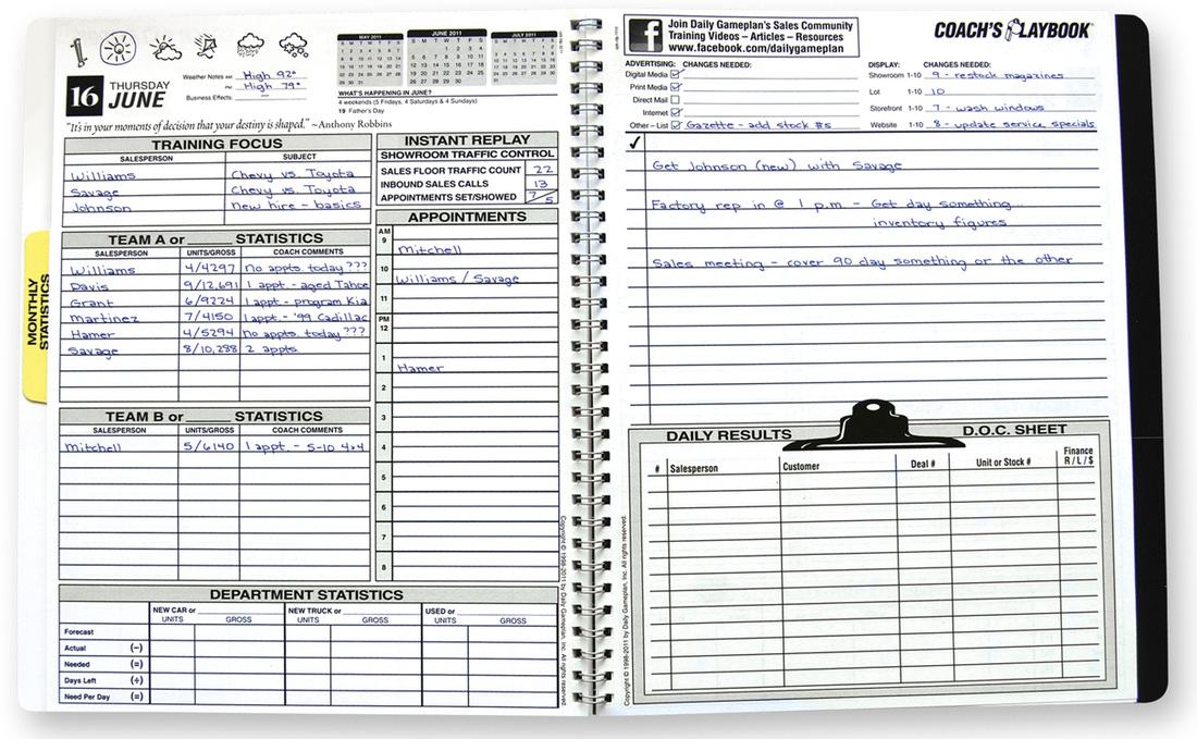 coach s playbook sales manager s planner daily gameplan daily
